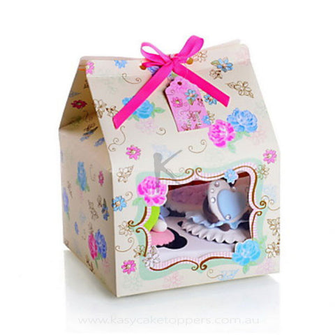 Floral Card Paper Cupcake Favor Box With Bow 60pcs