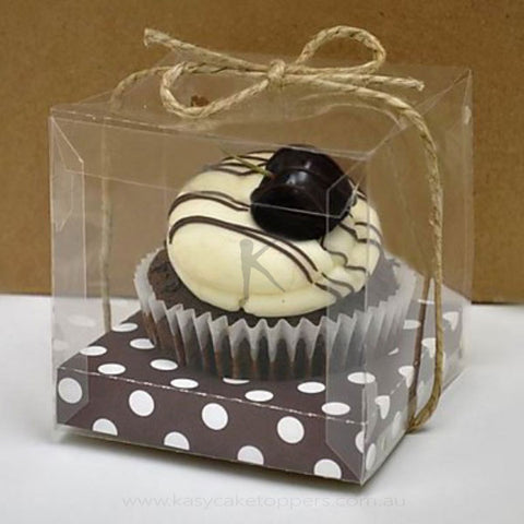 PVC Brown Clour Cupcake Box 12pcs