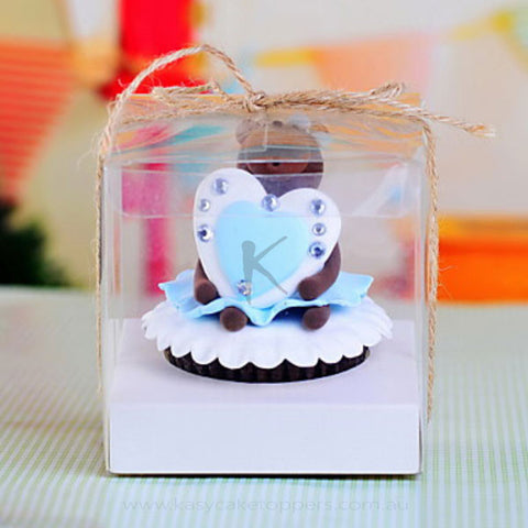 Clear PVC Cupcake Favor Box With Ribbon 120pcs