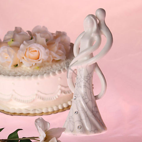"""Lost in Dancing"" Procelain Wedding Cake Topper with Rhinestone"