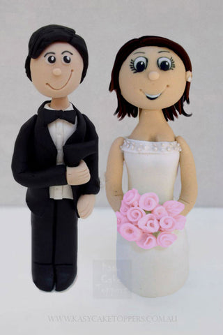 James Bond Themed Bride & Groom Wedding Toppers
