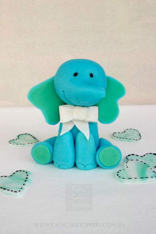 Teal Color Elephant Baby Shower Cake Topper