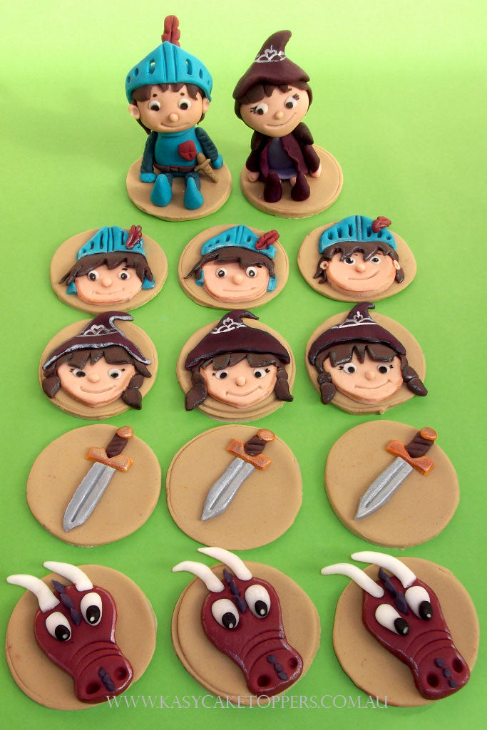 mike the knight cup cake toppers