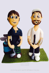 Golf Theme Wedding Cake Toppers groom & bride figurine