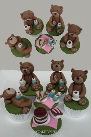 Teddy Bears Picnic Edible Cupcake Toppers