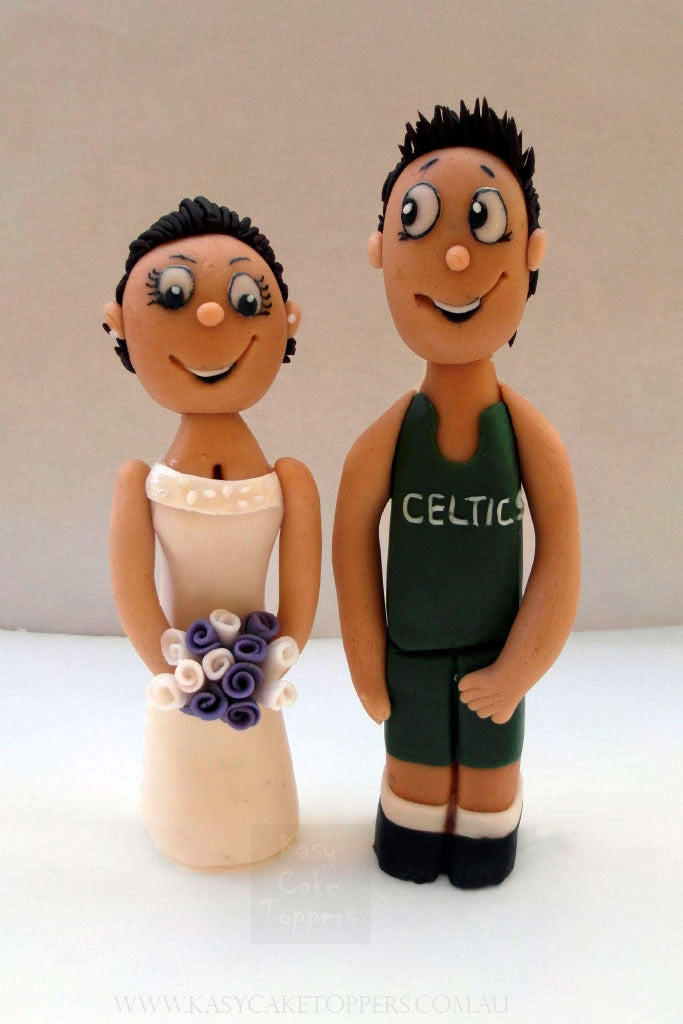 Boston Celtics Themed Icing Wedding Cake Toppers