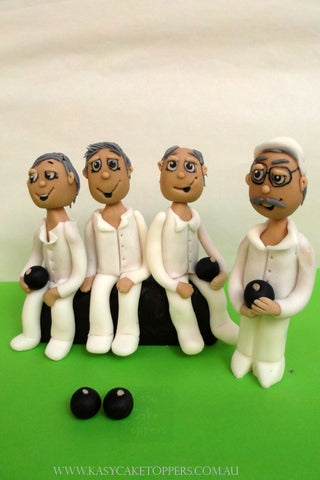 Lawn Bowling Friends Cake Toppers Figurines