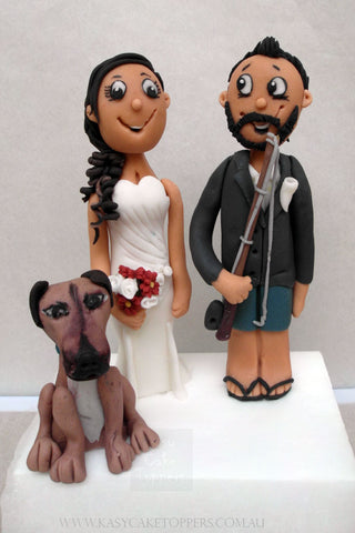 Fishing Themed Wedding Cake Figurines