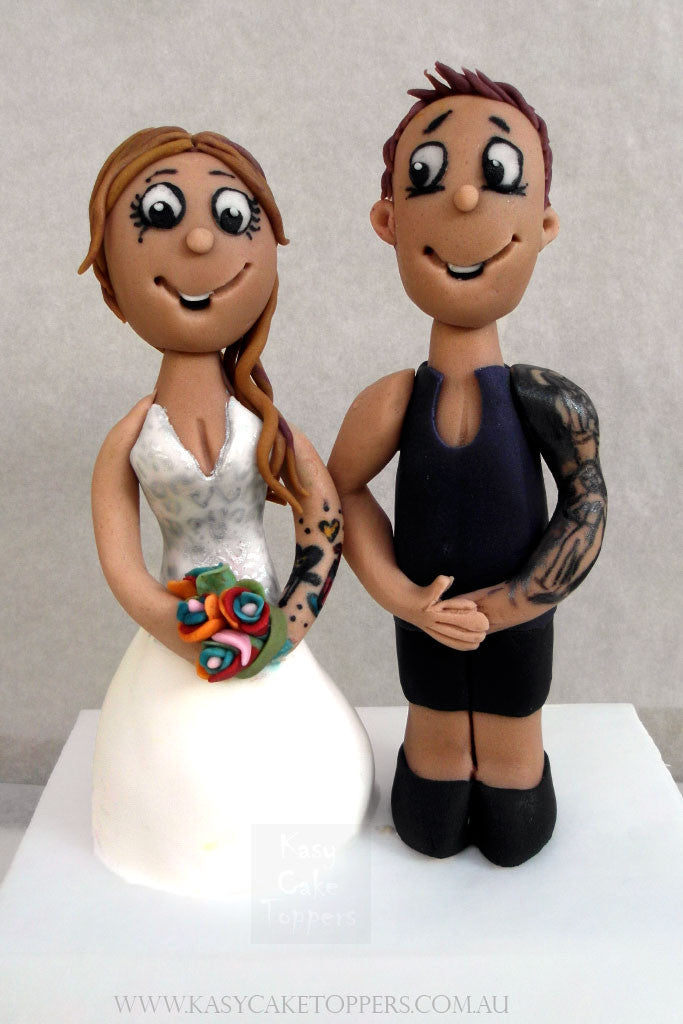Tattoo Themed Wedding Cake Figurines