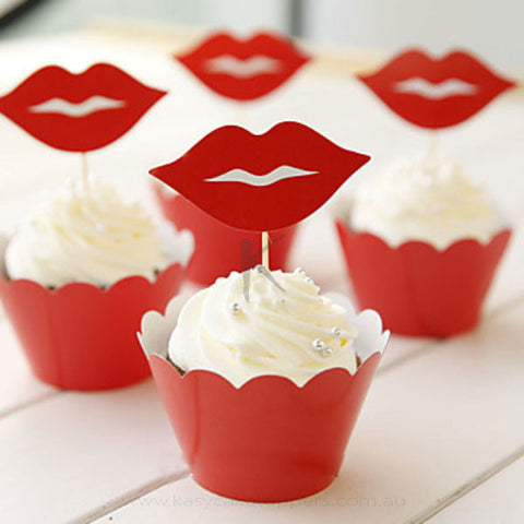 Red Lip Design Cupcake Wrappers