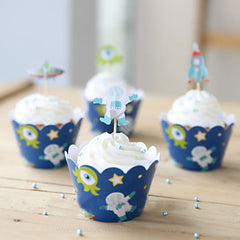Outer Space Theme Cupcake Wrappers