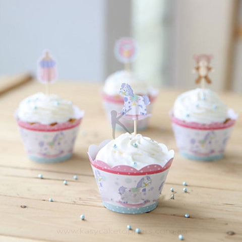 Children Theme Cupcake Wrappers for Baby Shower