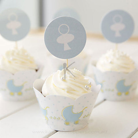 Blue Baby Carriage Pattern Cupcake Wrappers for Baby Shower