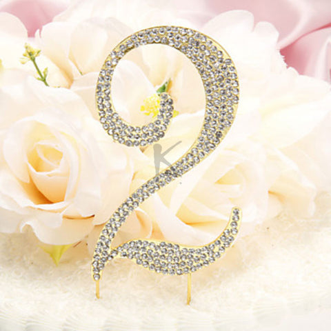 Rhinestone Covered Metal Anniversary/Birthday Number Cake Topper