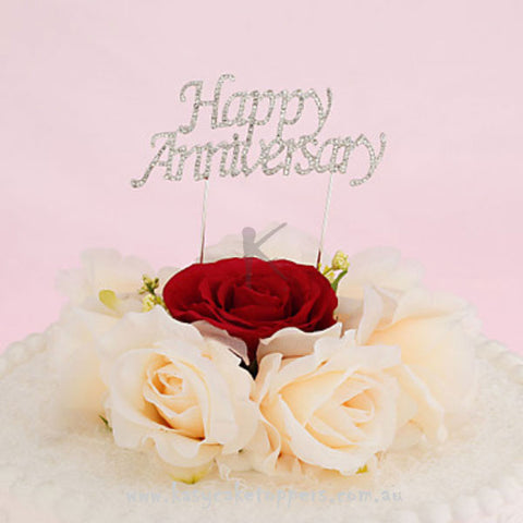 """Happy Anniversary""Rhinestone Wedding Cake Topper"