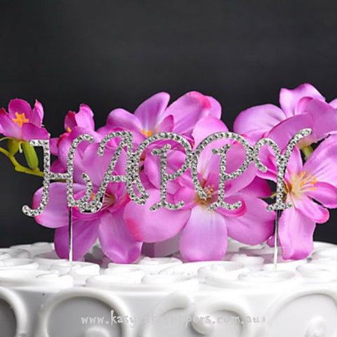 "Shining ""HAPPY"" Rhinestone Wedding Cake Topper"