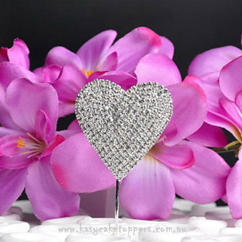 Rhinestone Heart-shaped Wedding Cake Topper