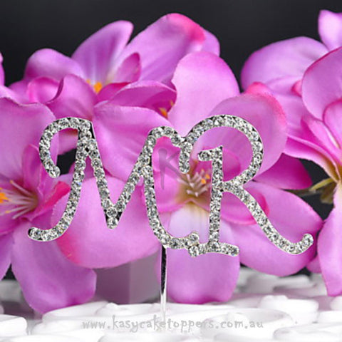 "Shining ""MR"" Rhinestone Wedding Cake Topper"
