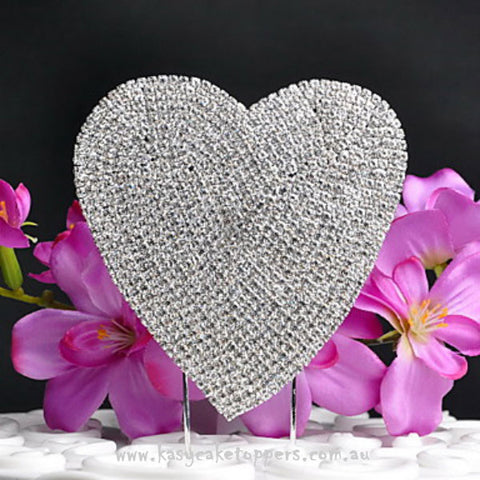 Shining Heart-shaped Rhinestone Wedding Cake Topper