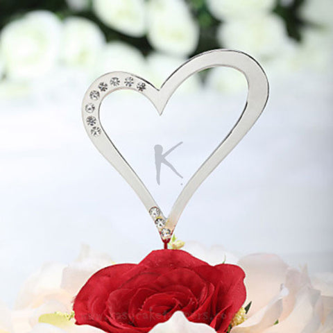 Heart Shaped Rhinestone Wedding Cake Topper