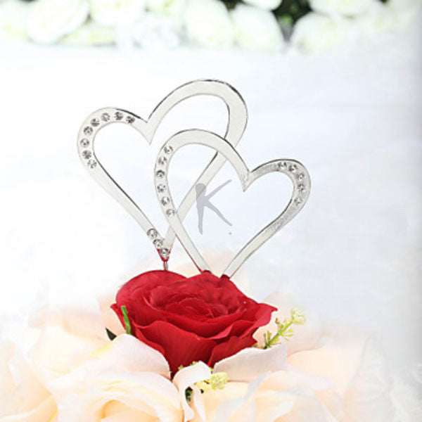 Sparkling Rhinestone Double Hearts Cake Topper