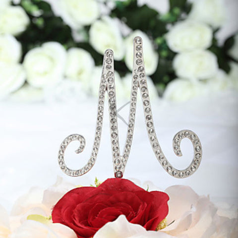 """M"" For ""Marriage"" Rhinestone Cake Topper"