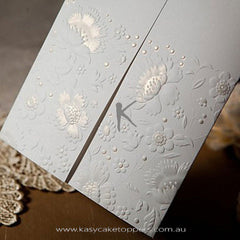 Vintage Embossed Tri-fold Wedding Invitation