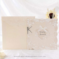 Classic Floral Embossed Wedding Invitation With Boeknot(Set of 50)