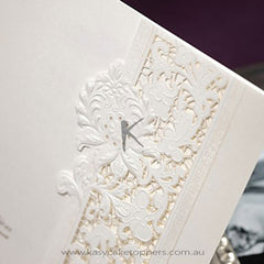 Delicate Ivory Lace Cut-out Tri-fold Wedding Invitation