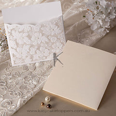 Elegant Floral Cut Wedding Invitation