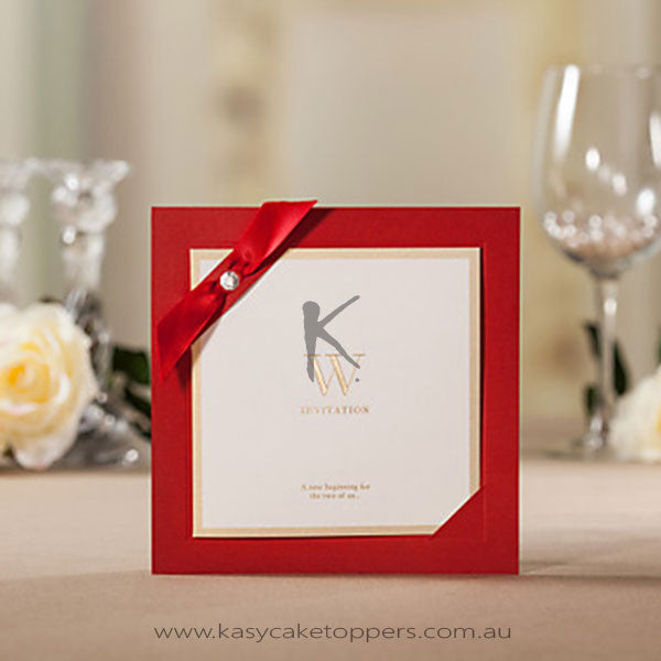 Square Wedding Invitation With Ribbon