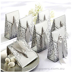 Silver Ribbon Wedding Favor 100pcs
