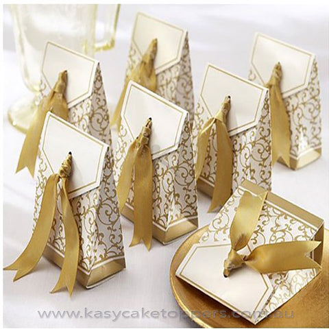 Gold Ribbon Wedding Favor 100pcs