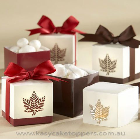Autumn Fall Leaf Favor Boxes 100pcs