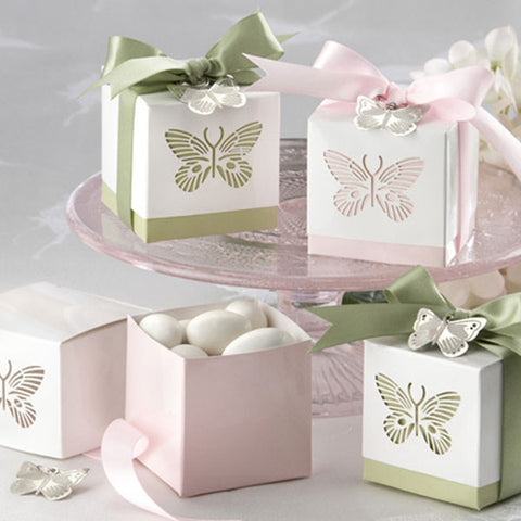 Laser Cut Butterfly Favor Box 100pcs