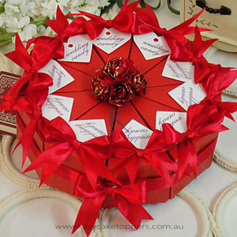 Red Rose Cake Favor Box (Set of 10)