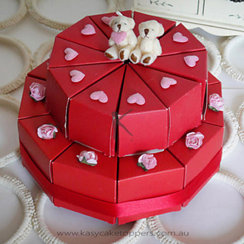 Red Double–deck Cake Favor Box With Cute Bears (Set of 20)