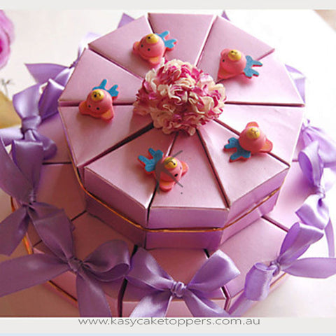 Lilac Card Paper Wedding Favor Boxes With Ribbon And Bears