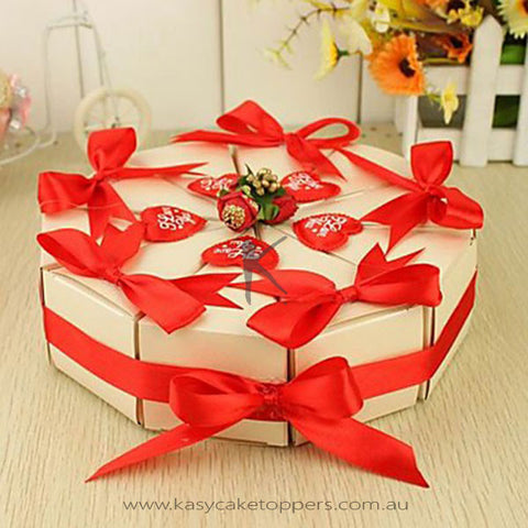 Cake Shaped Favor Box With Red Rinbbon (Set of 10)