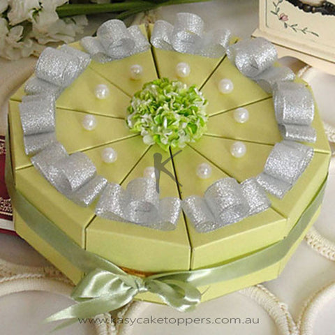 Green Cake Favor Box With Imitation Pearl (Set of 10)