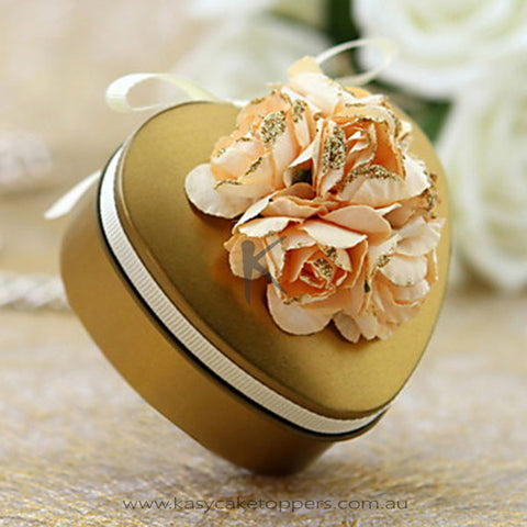Gold Tin Favors With Flower-Set of 50