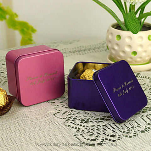 Personalized Cuboid Favor Tin - Set of 12 (More Colors)