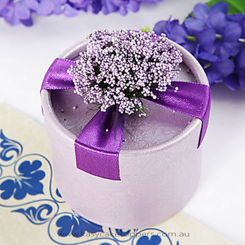 Round Purple Favor Box With Flowers And Ribbon (Set of 12)