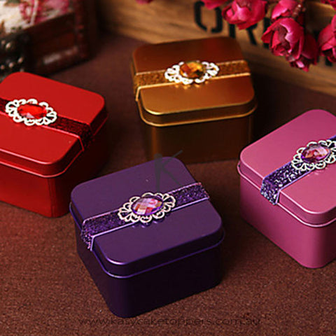 Candy Tin With Rhinestone-Set of 6