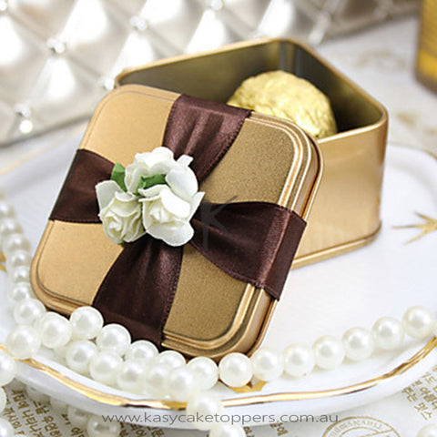 Cubic Favor Tins With Ribbon(More Colors)-Set of 50