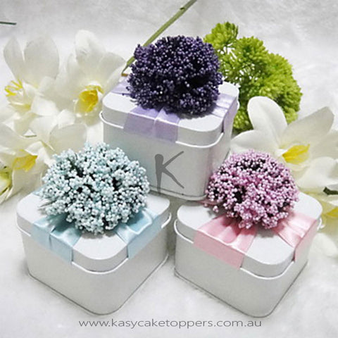 Square Favor Tin With Flowers - Set of 12