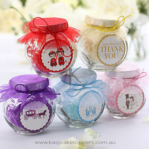 Glass Candy Jars With Chiffon (Set of 12)