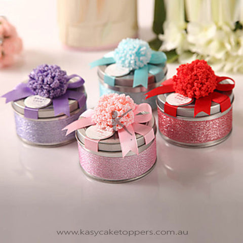 Favor Tin With Ribbon Bow - Set of 6