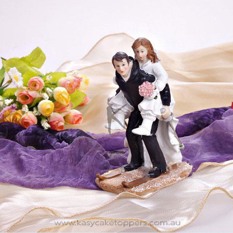 """Skiing Together"" Resin Figurine Wedding Cake Topper"