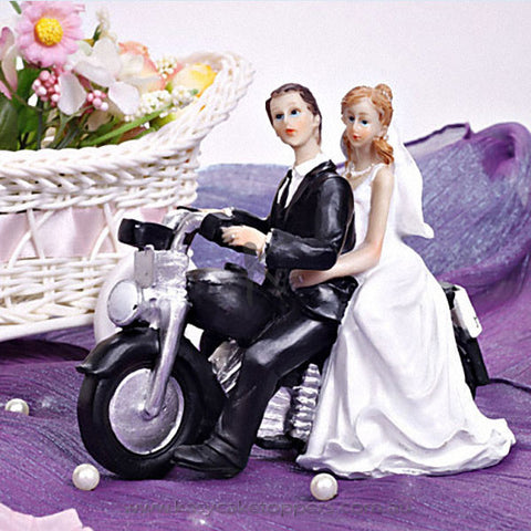 "Motorcycle ""Get-away"" Wedding Cake Topper"